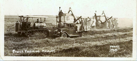 A truck, swather, and combines operated by D.N. Jamieson and Bill Dickie